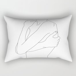 Woman's body line drawing illustration - Dahl Rectangular Pillow