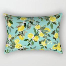 Summer Lemon Floral Rectangular Pillow
