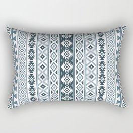 Aztec Stylized Pattern Gray-Blues & White Rectangular Pillow