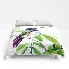Hummingbird and Green Foliage, tropical green design Comforters
