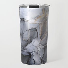 Calm but Dramatic Light Monochromatic Black & Grey Abstract Travel Mug