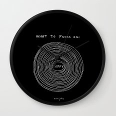 What to focus on - Happy (on black) Wall Clock