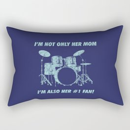 I'm Not Only Her Mom Im Also Number 1 Fan Funny Drums Vintage Drummer Distressed Rectangular Pillow