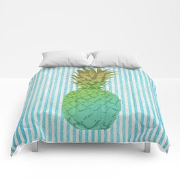 Gold and blue pineapple over blue strips Comforters