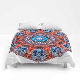 Digital Bright Colorful Red Blue Kaleidoscope Mandala Bohemian Comforters