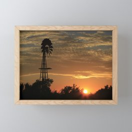 Kansas Windmill Silhouette with a Sunset Framed Mini Art Print