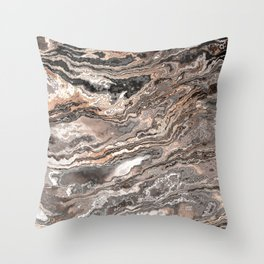 Brown Marble Texture Throw Pillow