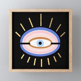 Retro evil eye - black & gold Framed Mini Art Print