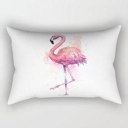 Pink Flamingo Watercolor Tropical Bird Rectangular Pillow