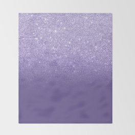 Modern ultra violet faux glitter ombre purple color block Throw Blanket