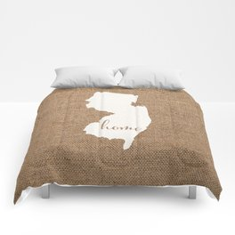 New Jersey is Home - White on Burlap Comforters