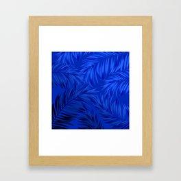 Palm Tree Fronds Brilliant Blue on Blue Hawaii Tropical Décor Framed Art Print