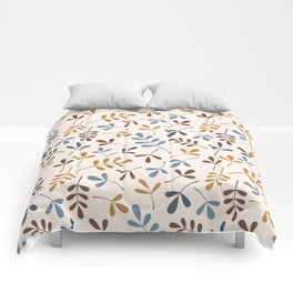Assorted Leaf Silhouettes Ptn Blues Brwn Gld Crm Comforters