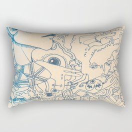 Blue and White Ideas and doodles Rectangular Pillow