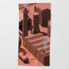 Low Poly Industry Beach Towel