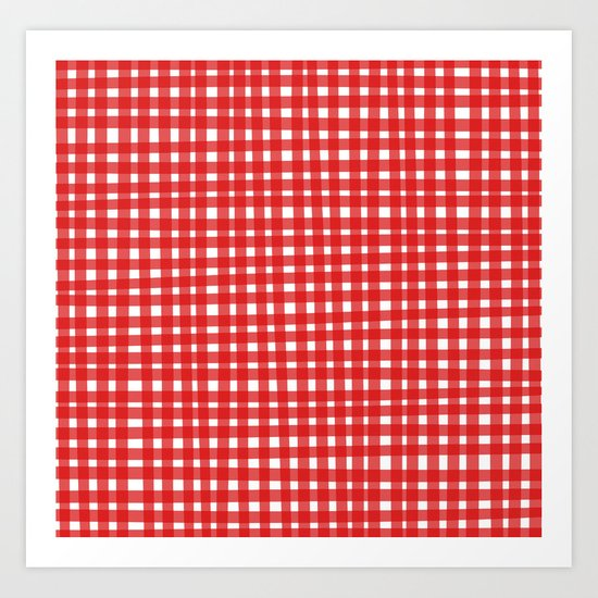 Red Gingham Art Print