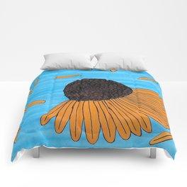 Mexican Yellow Big Headed Flower Cabezona Comforters