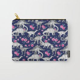 Dinosaurs and Roses on Dark Blue Purple Carry-All Pouch