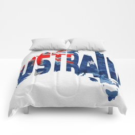 Australia Typographic World Map / Australia Typograpy Flag Map Art Comforters