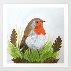 Robin with Oakleaves Art Print
