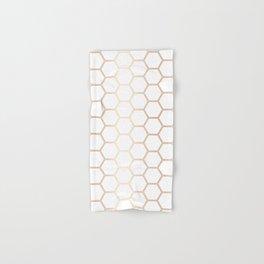 Geometric Honeycomb Pattern - Rose Gold #372 Hand & Bath Towel