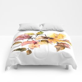 Fall leaves. Watercolor flowers. Vintage florals. Comforters