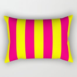 Bright Neon Pink and Yellow Vertical Cabana Tent Stripes Rectangular Pillow