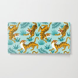 Asian tigers and tropic plants on background. Metal Print
