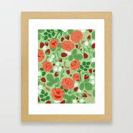 Roses and strawberries on green Framed Art Print