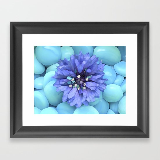 Eco-Abstract Blue Framed Art Print