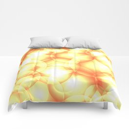 Gentle intersecting golden translucent circles in pastel colors with glow. Comforters