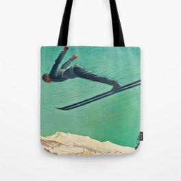 The Jump,Vintage Ski Travel Poster Tote Bag