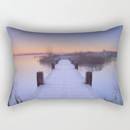 Boardwalk on a lake at dawn in winter, The Netherlands Rectangular Pillow
