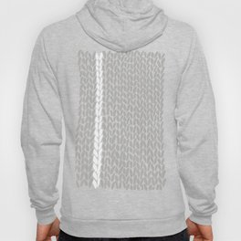 Grey Knit With White Stripe Hoody