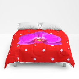 Chinese Red & Violet Accents Color Orchid Flower Pattern Art Comforters