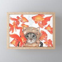Scuba Cat Among the Fishes Framed Mini Art Print