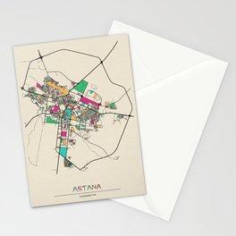 Colorful City Maps: Astana, Kazakhstan Stationery Cards