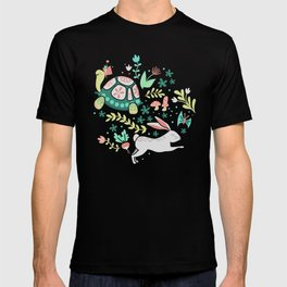 Spring Pattern of Bunnies with Turtles T-shirt
