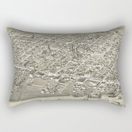 Vintage Pictorial Map of Moncton NB (1888) Rectangular Pillow