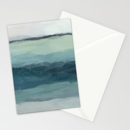 Seafoam Green Mint Navy Blue Abstract Ocean Art Painting Stationery Cards
