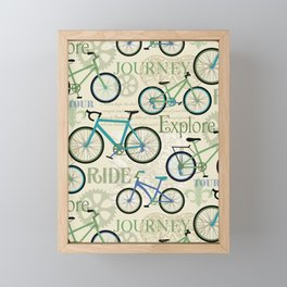 Bicycle Journey Blue Framed Mini Art Print