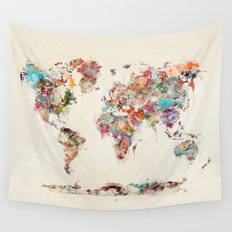 world map watercolor deux Wall Tapestry