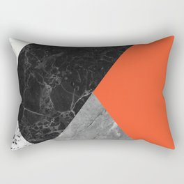Black and White Marbles and Pantone Flame Color Rectangular Pillow