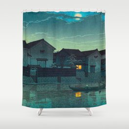 Kawase Hasui Vintage Japanese Woodblock Print Japanese Village Under Moonlight Cloudy Sky Shower Curtain