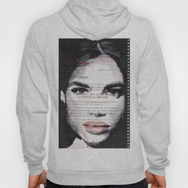 Veronica - ink drawing over vintage commercial invoice Hoody
