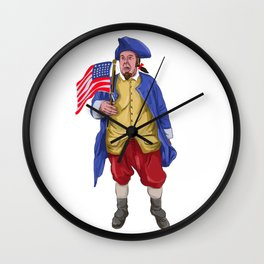 American Patriot Shouting Holding Flag Watercolor Wall Clock