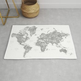 """Watercolor world map with LABELS IN SPANISH, """"Jimmy"""" Rug"""