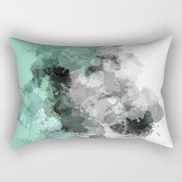 Mint Green Paint Splatter Abstract Rectangular Pillow