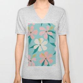 Sweet Tropical Flower Pattern on Sky Blue Unisex V-Neck