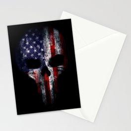 American Flag Punisher Skull Grunge Distress USA Stationery Cards